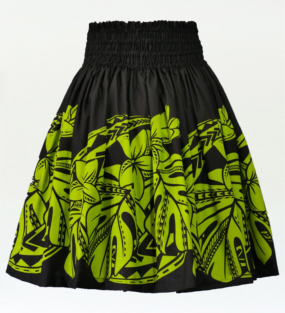 フラダンス パウスカート シングル73cm丈 ブラック×ライトグリーン 2590