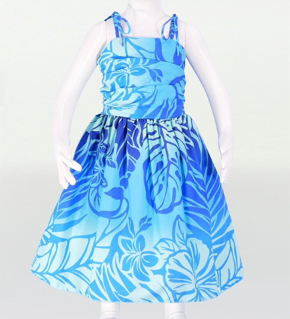 フラダンス ケイキ(キッズ) ドレープ ミディ丈 ムームードレス ブルー Mサイズ  cw26