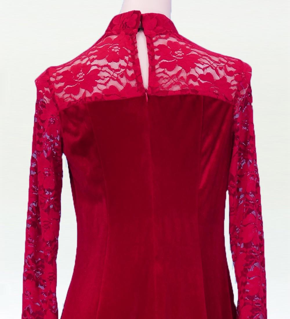 レースベルベットロング丈 ドレス レッド 3Lサイズ 2448rdLLL