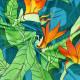 ハワイアン生地 ストレリチア柄 ストレッチベロア生地 ターコイズブルー KH-550-TBL-V