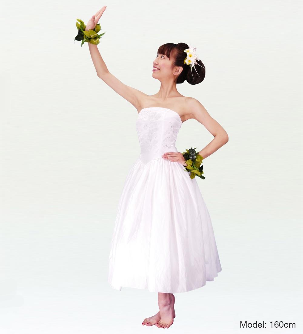 フラダンス ムームー 刺繍バックサテン ミディ丈ドレス ホワイト LLサイズ 2308wLL