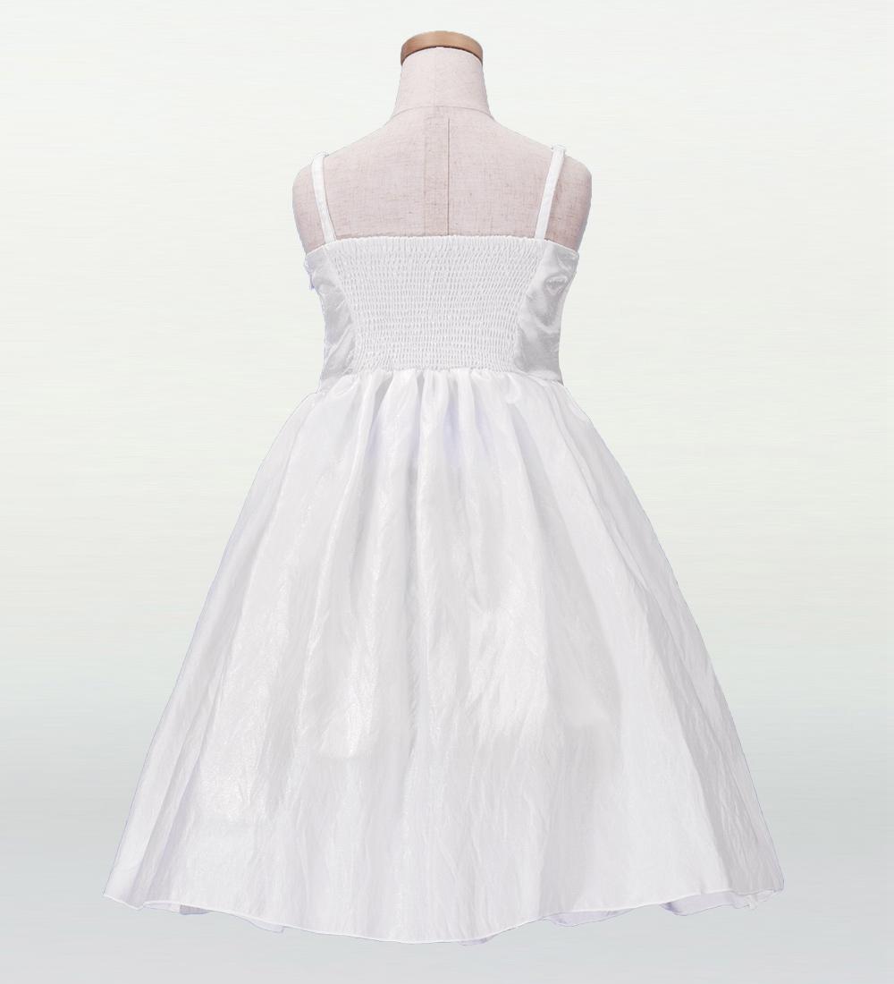 フラダンス ケイキ(キッズ)  刺繍バックサテン  ムームードレス ホワイト 100サイズ p2w100