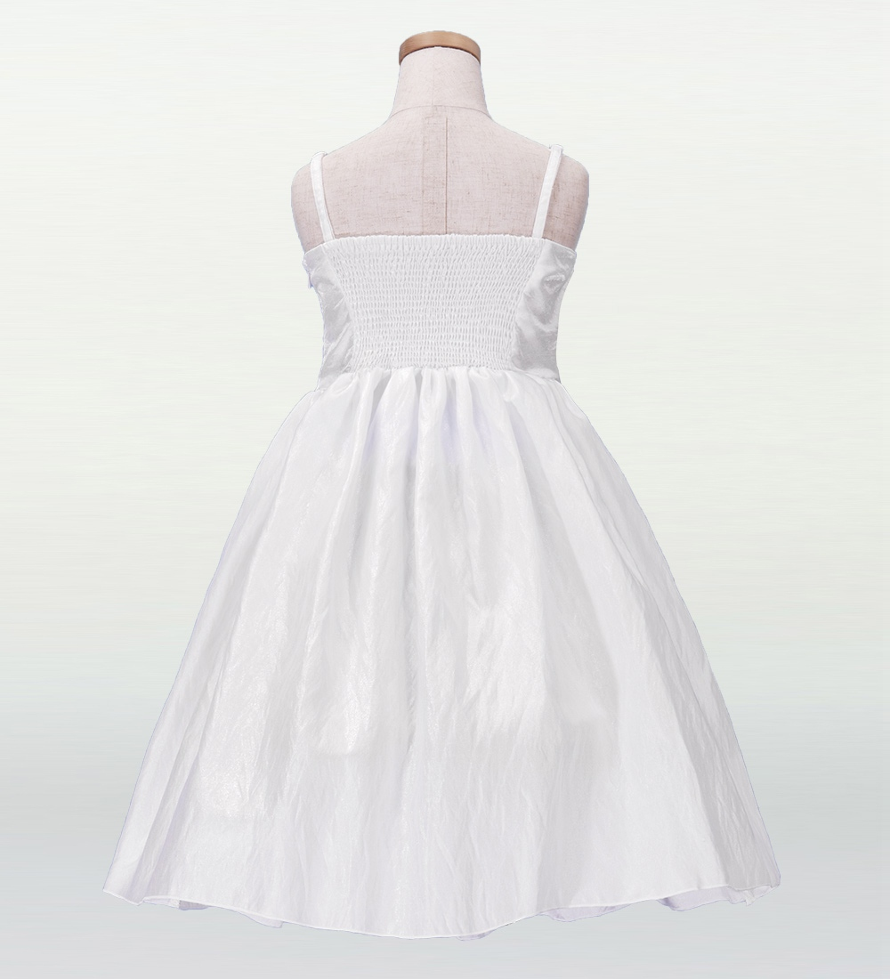 フラダンス ケイキ(キッズ) 刺繍バックサテン ムームードレス ホワイト 120サイズ p2w120