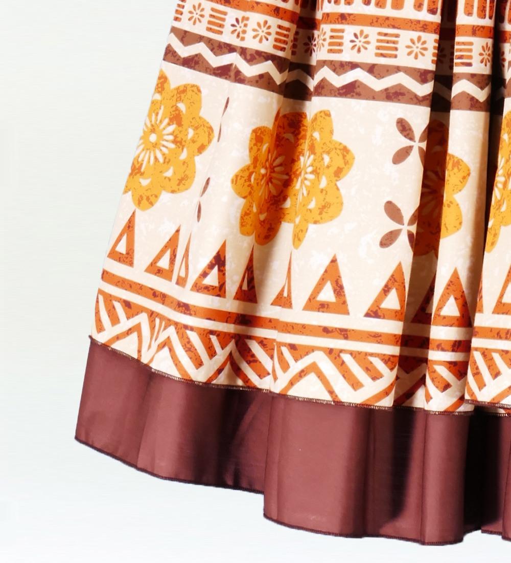 フラダンス ダブル リバーシブル パウスカート 73cm丈 ブラウン 2216