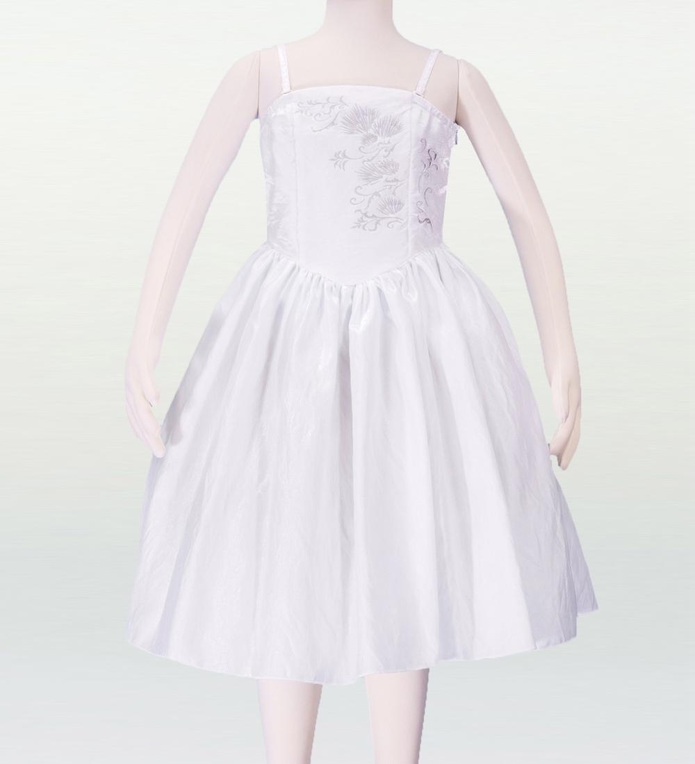 フラダンス ケイキ(ジュニア) 刺繍バックサテン ムームードレス ホワイト 140サイズ p2w140
