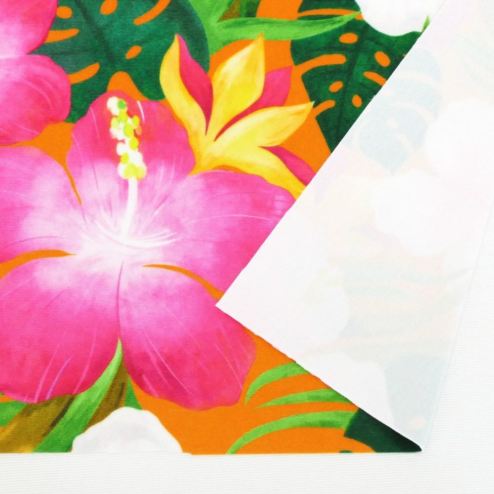 ハワイアン生地 ハイビスカス柄 ストレッチベロア生地 オレンジ KH-556-OR-V