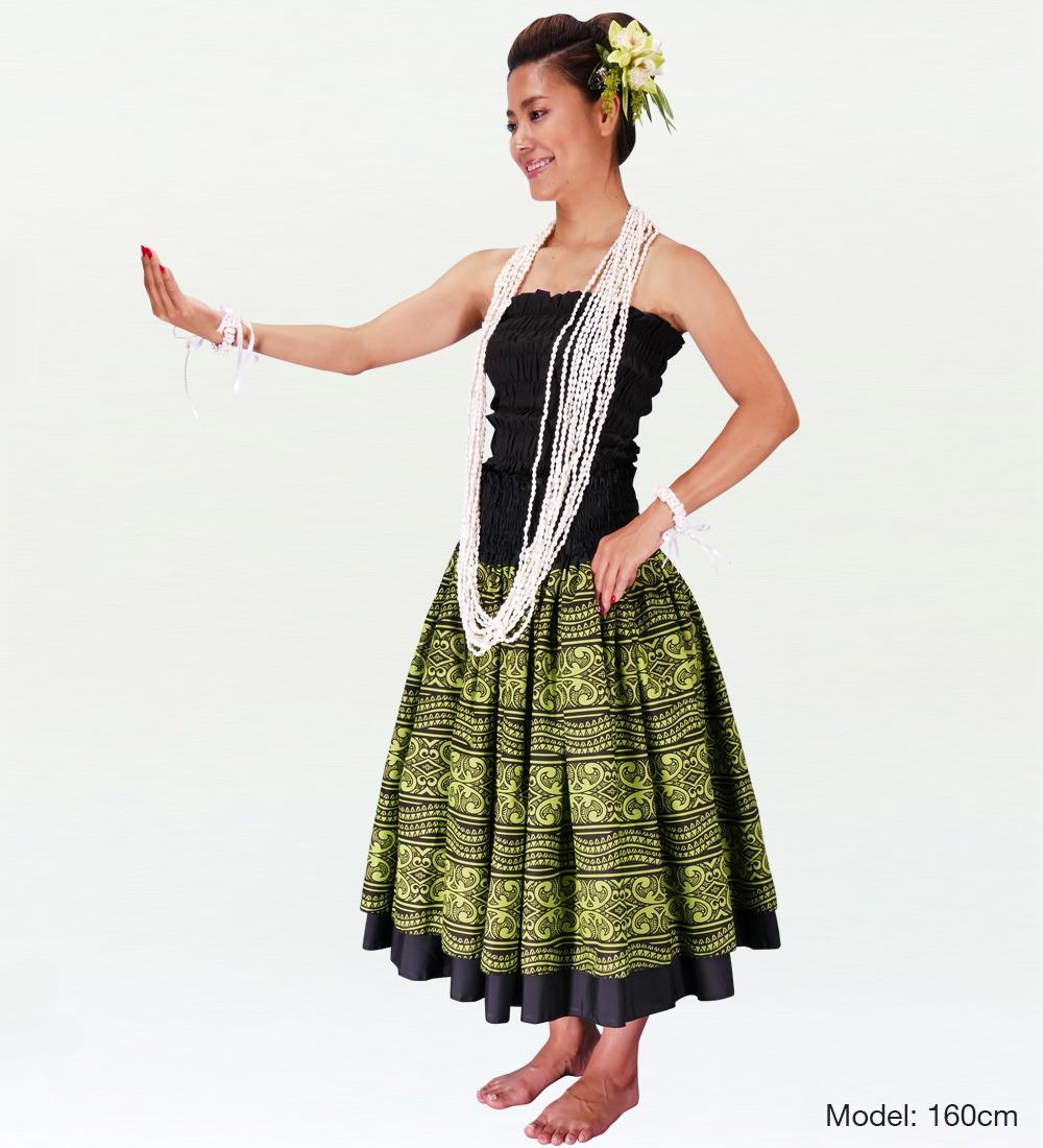 フラダンス ダブル リバーシブル パウスカート 73cm丈 ブラック 2218