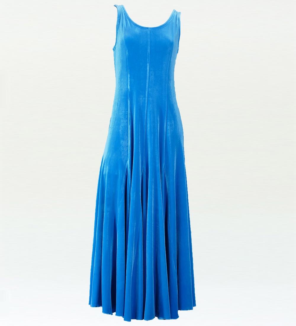 フラドレス ベルベット 無地 ワンピースドレス ブルー 1816a
