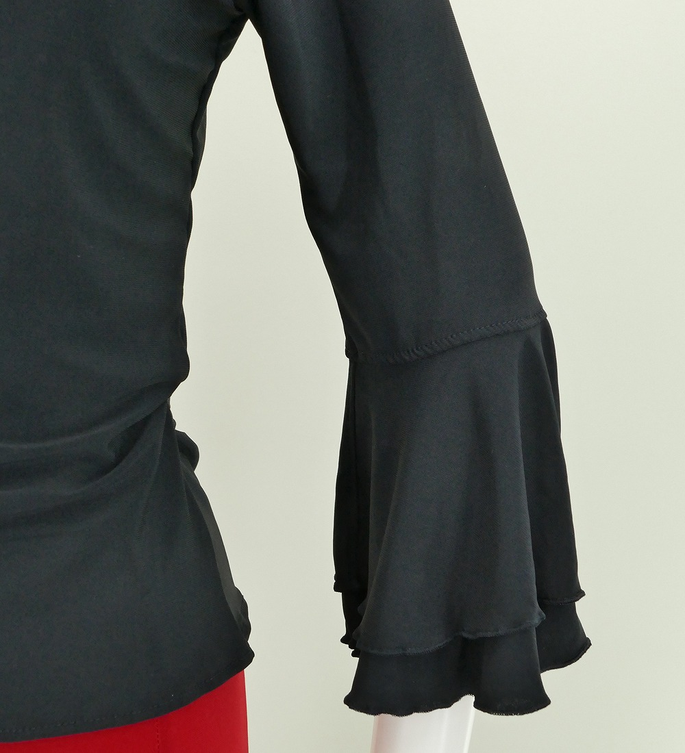 Sサイズ フラメンコ カシュクールブラウス ブラック 2480bks