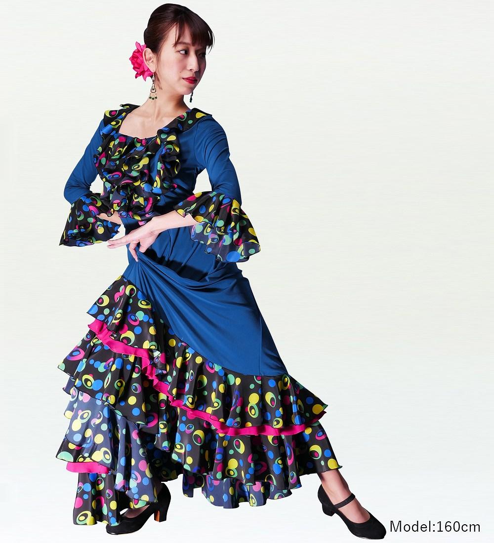 Mサイズ フラメンコ 水玉 フリルファルダ スカート ブルー×ブラック 2353blbf