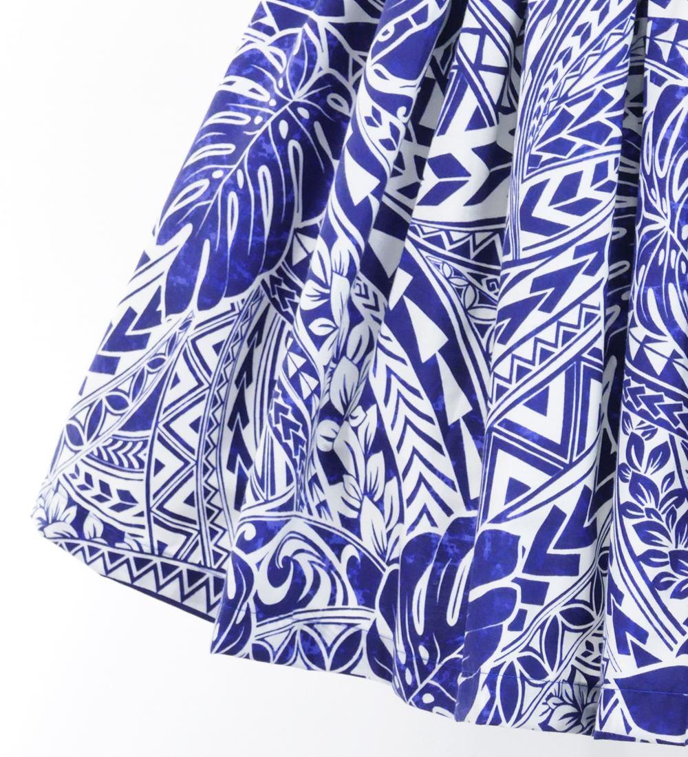 フラダンス パウスカート シングル73cm丈 ブルー 2695