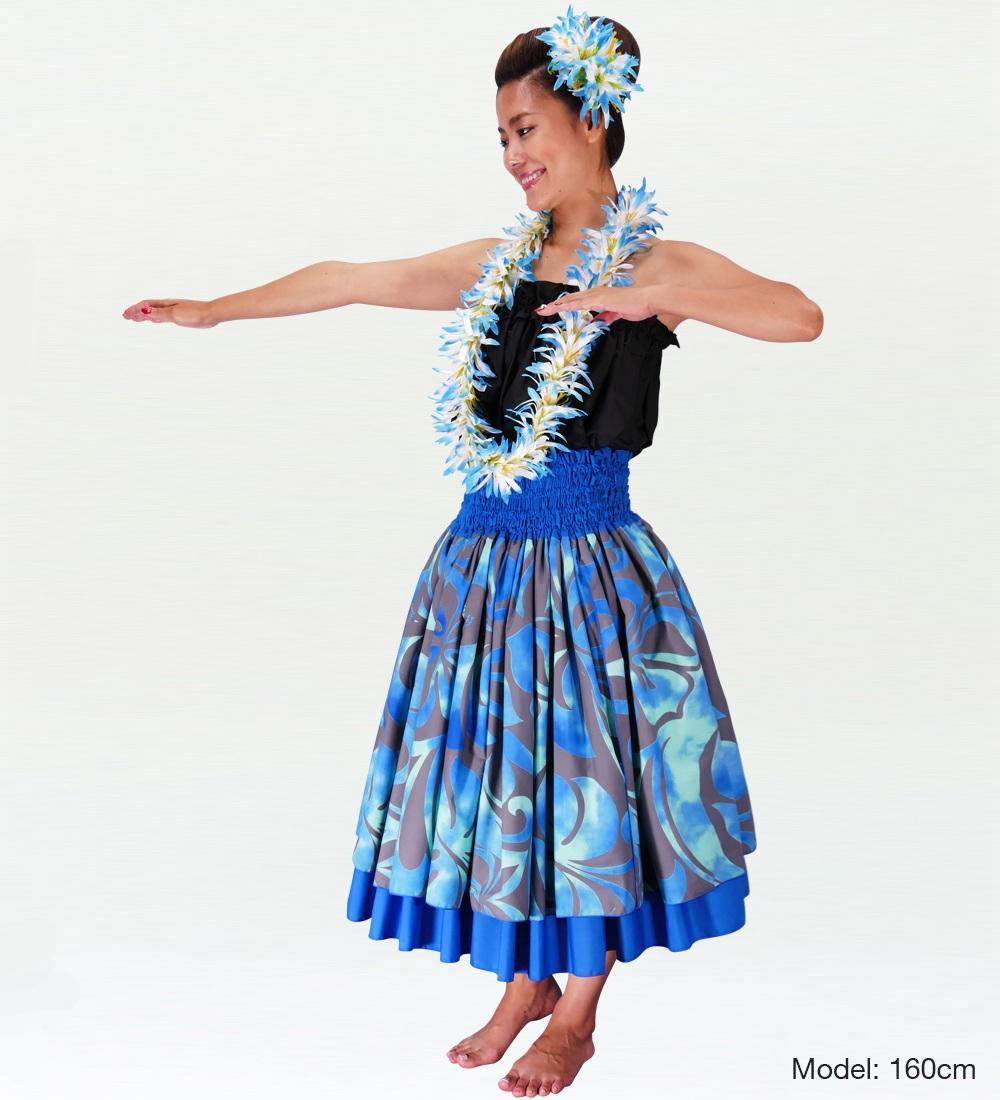フラダンス ダブル リバーシブル パウスカート 73cm丈 ブルー 2223