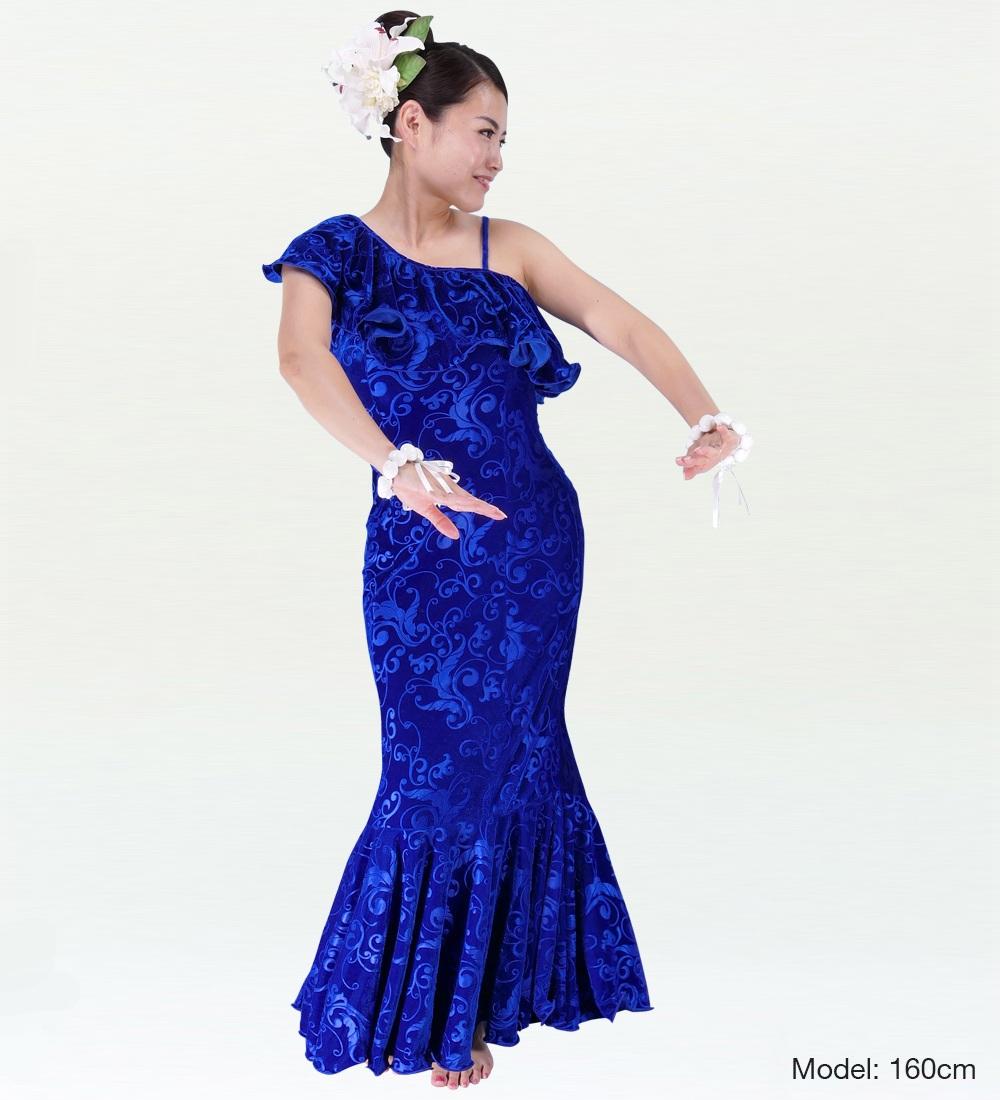 フラダンス ワンショルダー型押しベルベットドレス ロング丈 ブルー Sサイズ 1841blS
