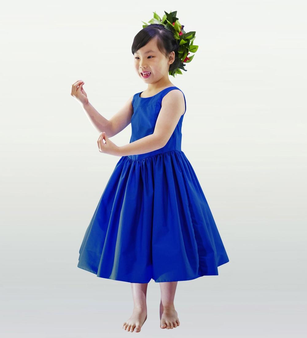 フラダンス ケイキ [140]ミディ丈ヨークドレス ブルー p34bl140