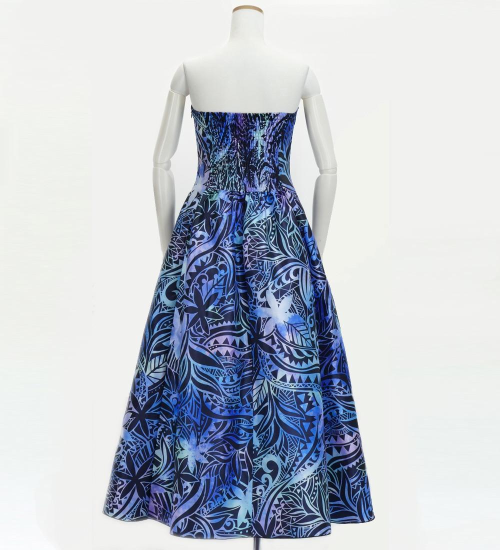 フラドレス ストラップレス ロング丈 ヘリコニア柄 ブルー×パープル M-LLサイズ J2679bl