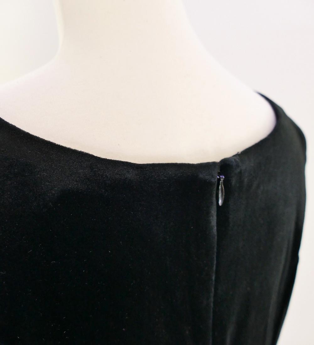 フラドレス ベロア×シャンタン ミディ丈 M-LLサイズ ブラック J2672bk