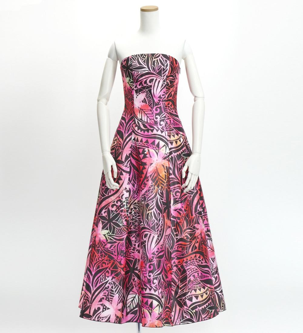 フラドレス ストラップレス ロング丈 ヘリコニア柄 レッド×ピンク MーLLサイズ J2679rd