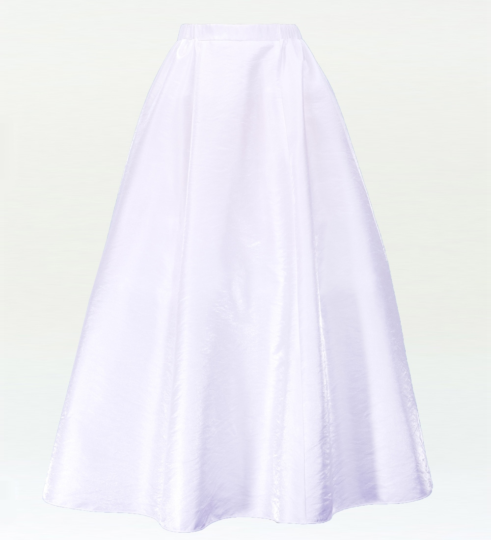 フラダンス  シャンタン【Mサイズ】ロングフレアスカート【M】ホワイト 2447whM
