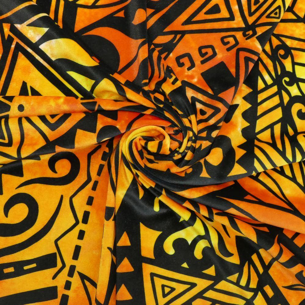 ハワイアン生地 ストレリチア×カヒコ柄 ストレッチベロア生地 オレンジ KH-552-OR-V