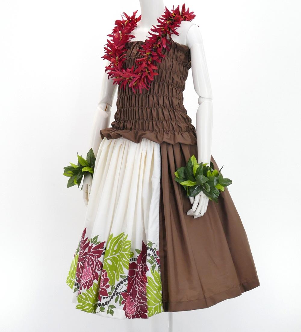 フラダンス パウスカート シングル73cm丈 バイカラー ホワイト×ブラウン 2704