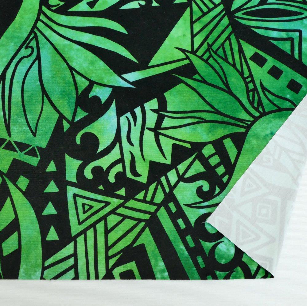 ハワイアン生地 ストレリチア×カヒコ柄 ストレッチベロア生地 グリーン KH-552-GR-V