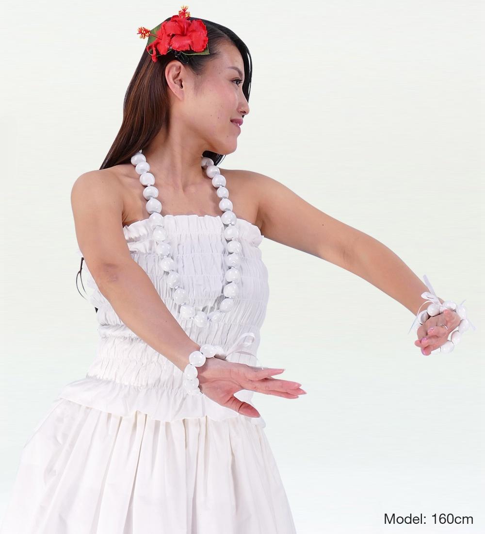 フラダンス シャーリングチューブトップ ブラウス ホワイト 1663w