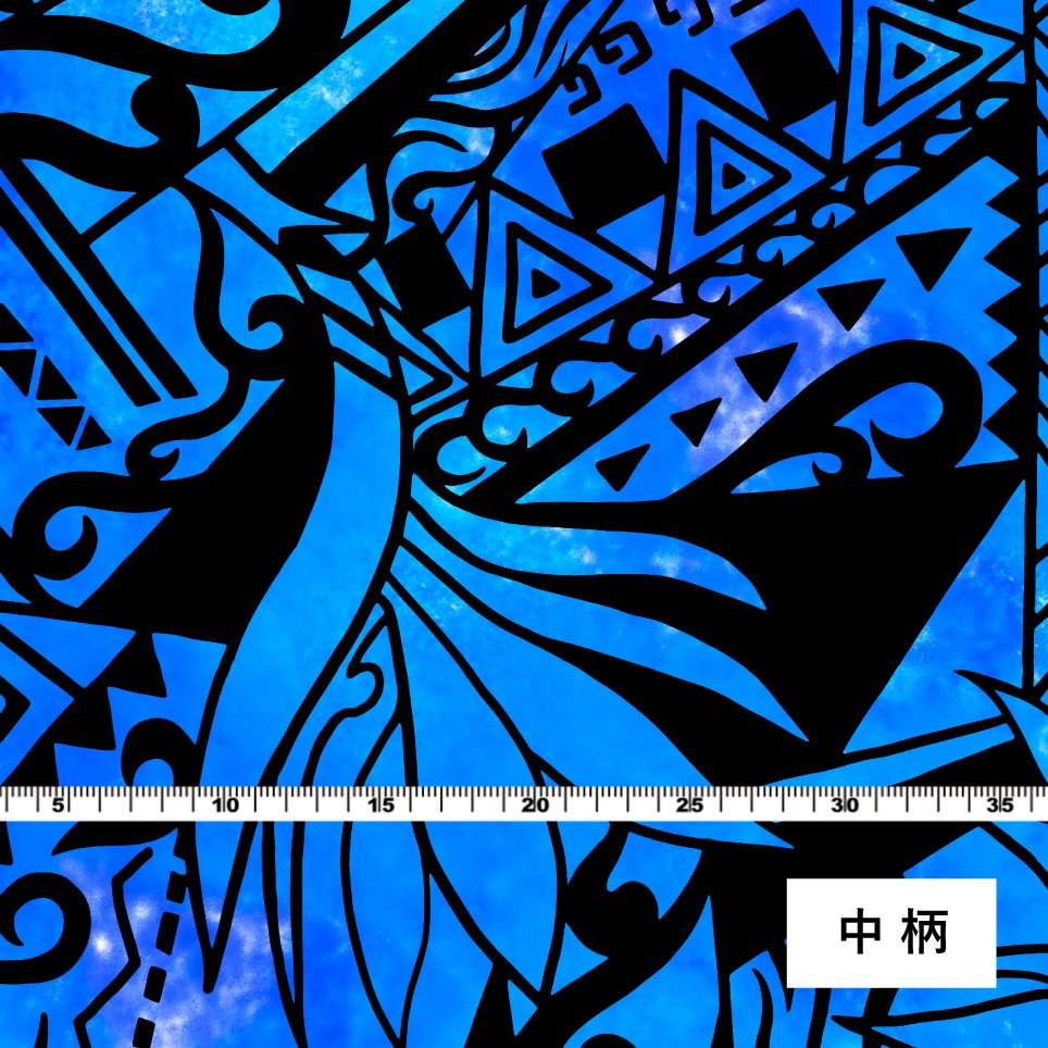 ハワイアン生地 ストレリチア×カヒコ柄 ストレッチベロア生地 ブルー KH-552-BL-V