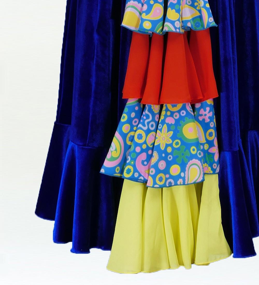 Mサイズ フラメンコ ベルベット バックフリル ワンピース ブルー 2384blf
