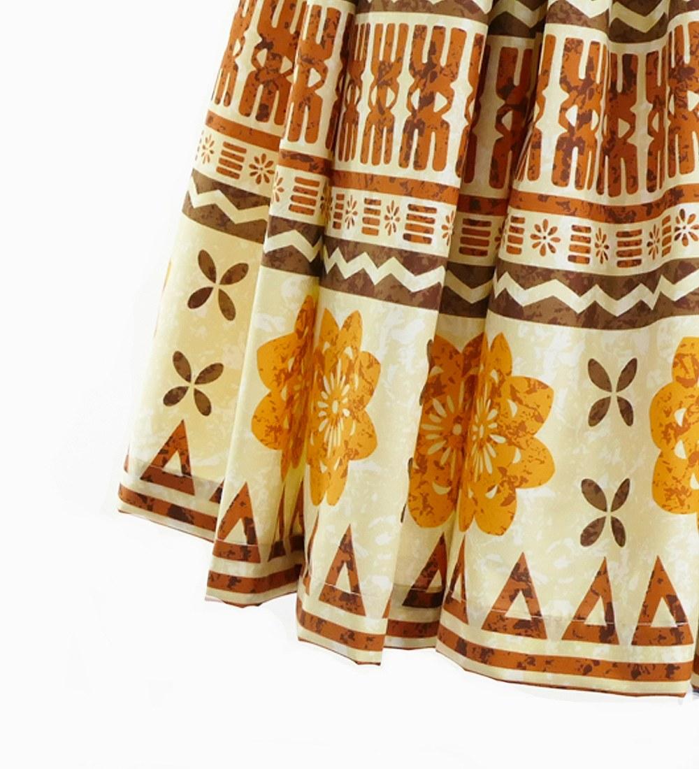 フラダンス 2段フリル パウスカート 73cm丈  カヒコタパ柄 ブラウン 2684br