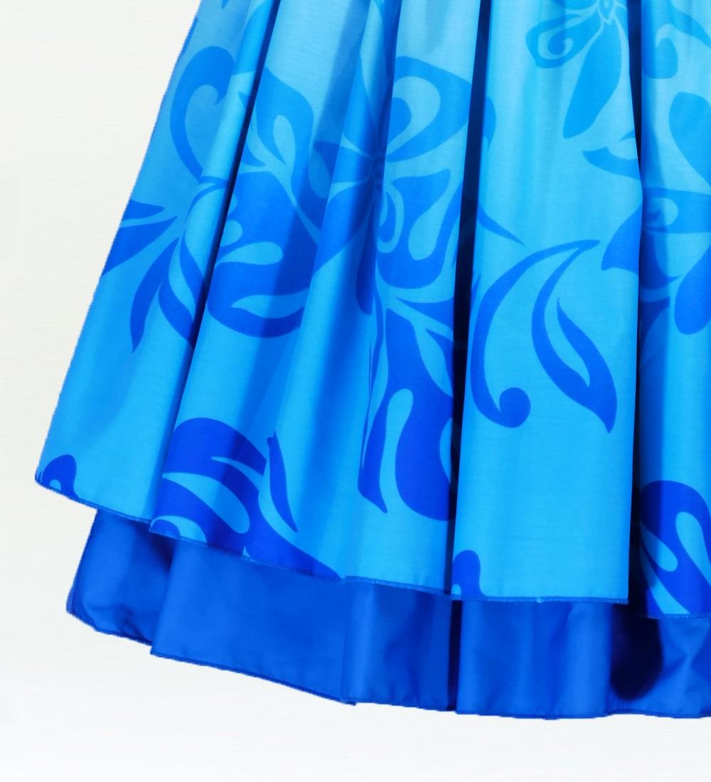 フラダンス ダブル リバーシブル パウスカート 73cm丈 ブルー 2525