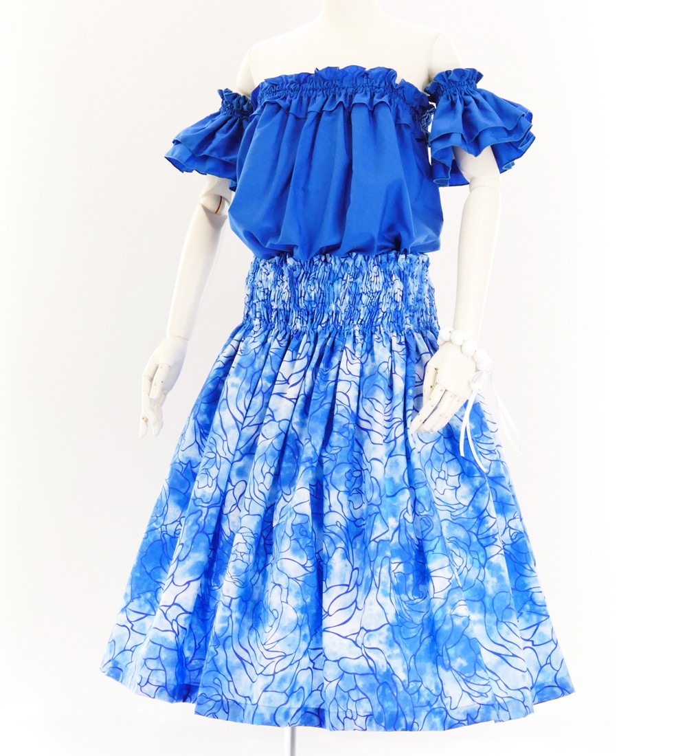 フラダンス パウスカート シングル73cm丈 ブルー 2615