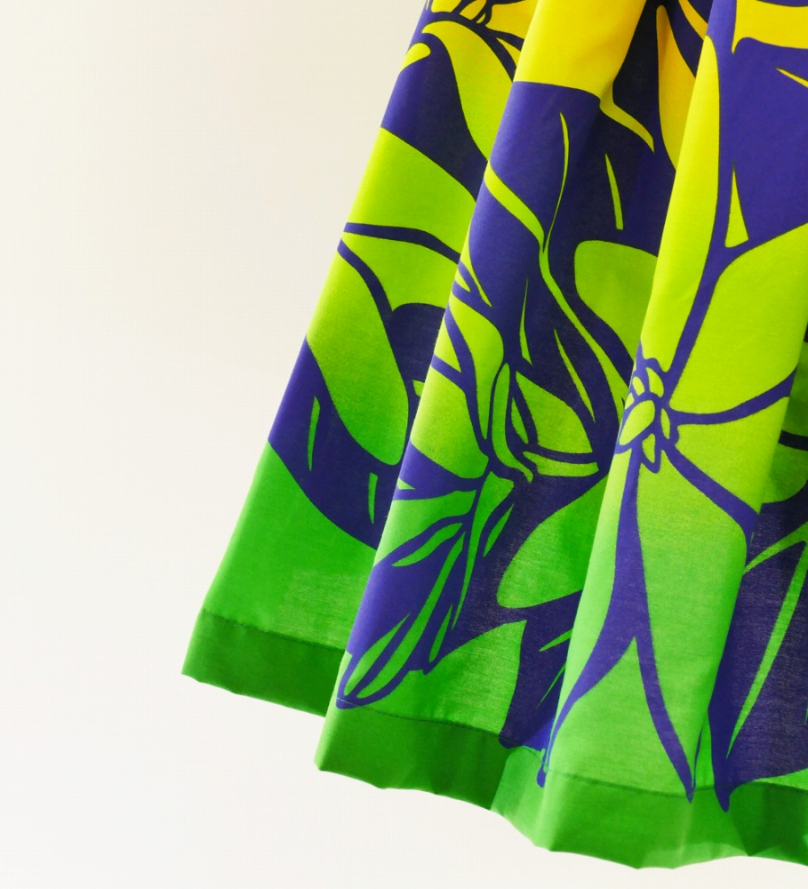 フラダンス パウスカート シングル73cm丈 ブルー×グリーン 2621