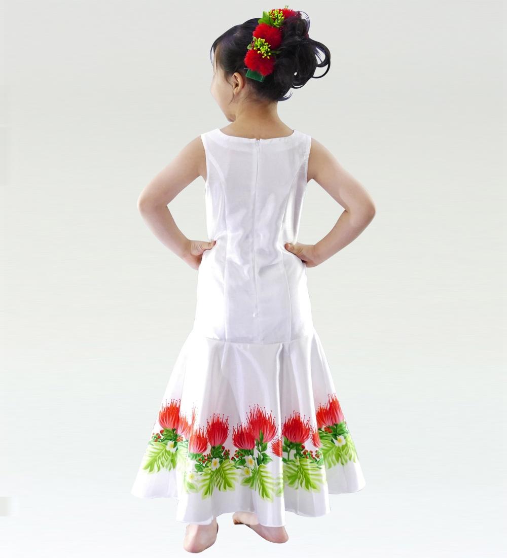 フラダンス ケイキ レフアシャンタンドレス ホワイト 120サイズ p35wh120