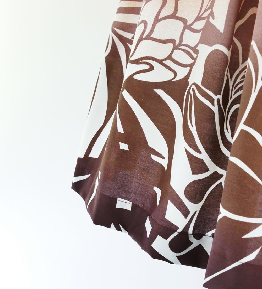 フラダンス パウスカート シングル73cm丈 バイカラー ブラウン 2626