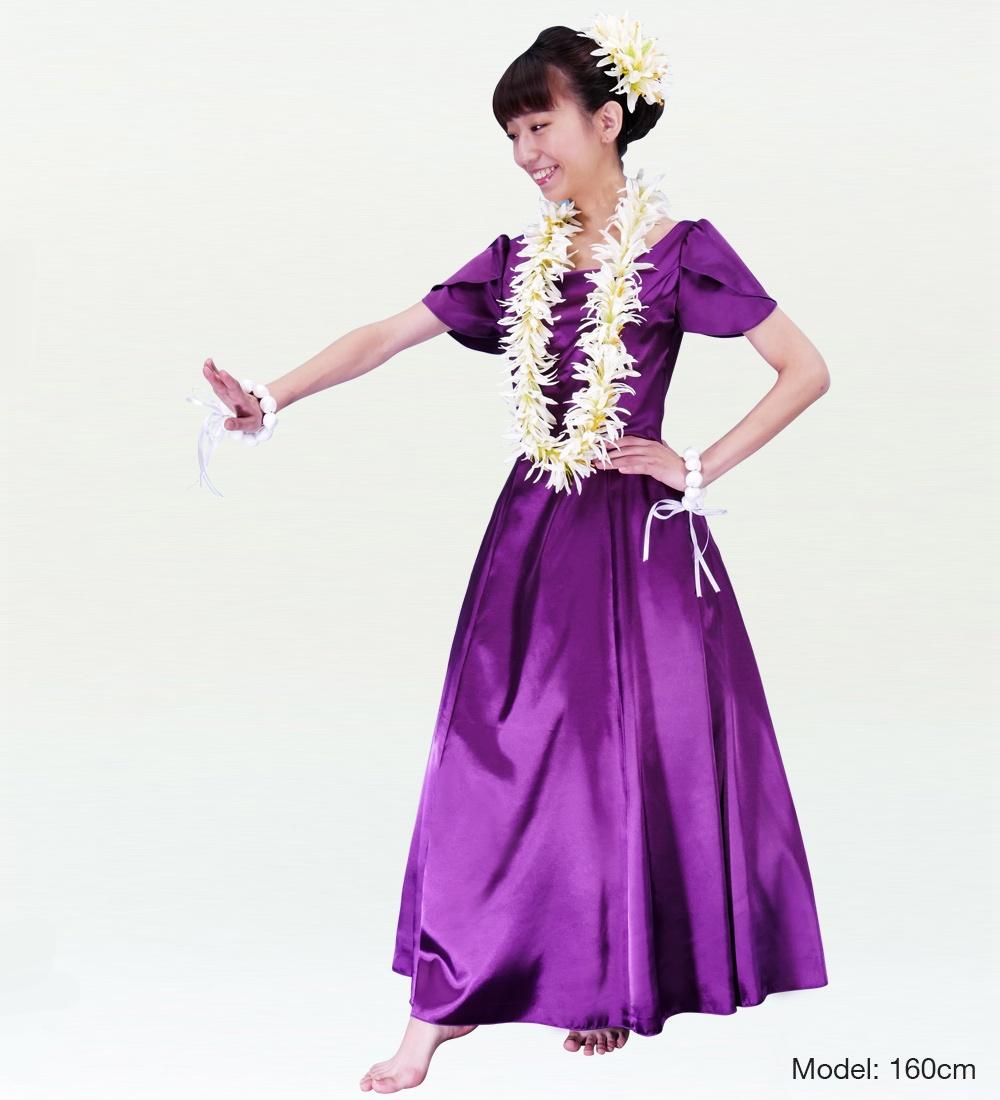 フラダンス ムームー チューリップ袖 ロング丈ドレス パープル Lサイズ 2408puL