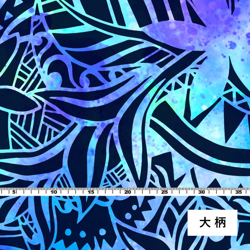 ハワイアン生地 ヘリコニア柄 ストレッチベロア生地 ブルー×パープル KH-548-BL-V