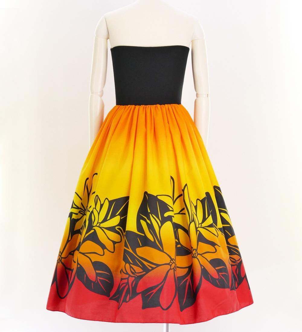 フラドレス チューブトップドレス ミディ丈 ティアレ オレンジ×レッド Mサイズ 2631orM