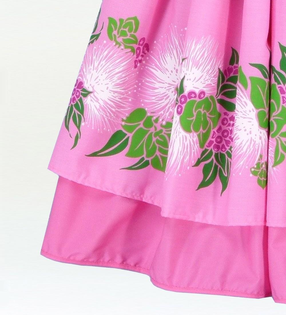 フラダンス ダブル リバーシブル パウスカート 73cm丈 ピンク 1767
