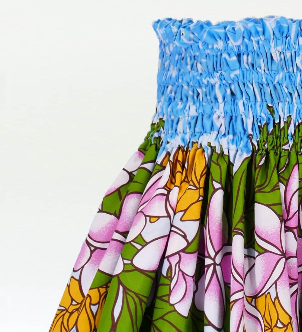 フラダンス パウスカート シングル73cm丈 ブルー 2174