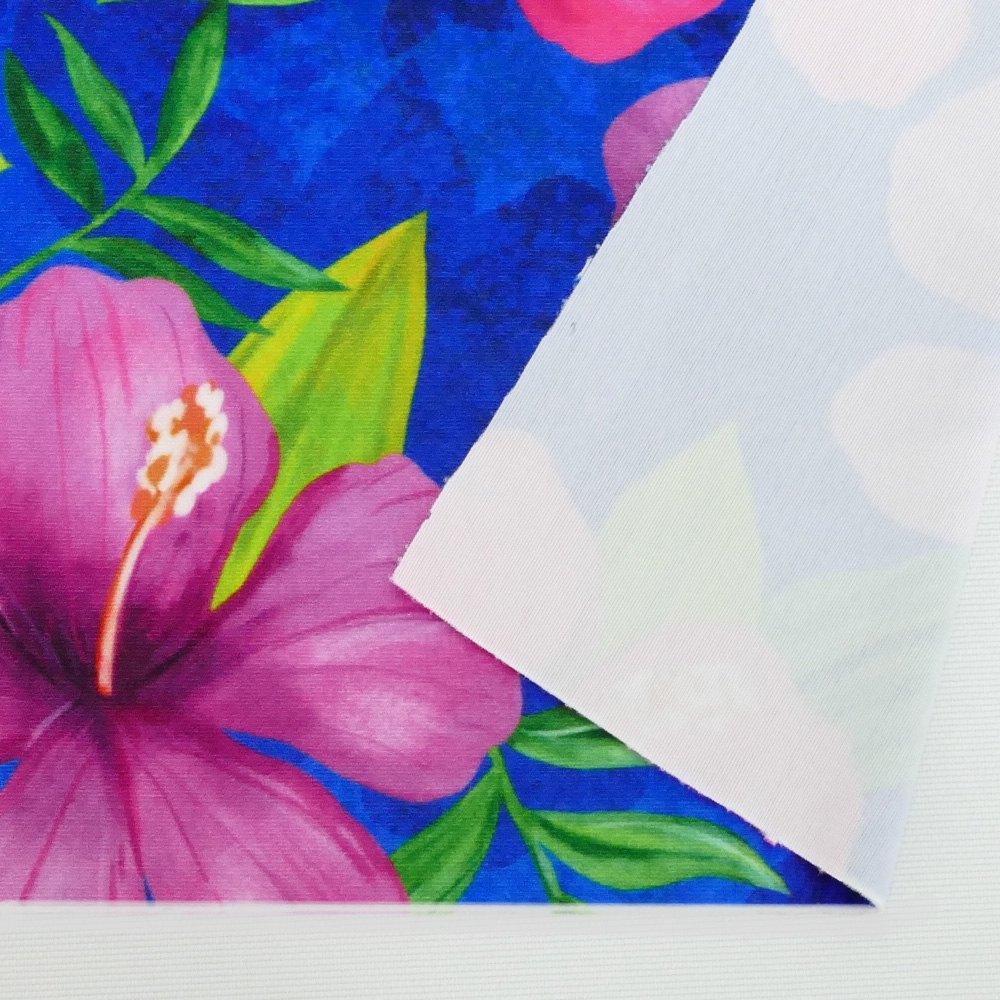 ハワイアン生地 ハイビスカス柄 ストレッチベロア生地 ブルー KH-554-BL-V