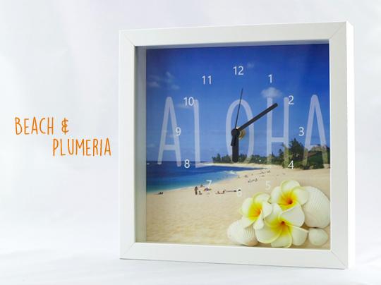 ハワイアンビーチ・プルメリア&シェル スクエアクロック CLKS0002