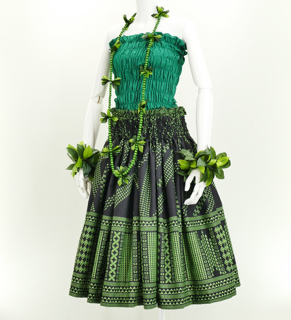 フラダンス パウスカート シングル73cm丈 ブラック×グリーン 2643