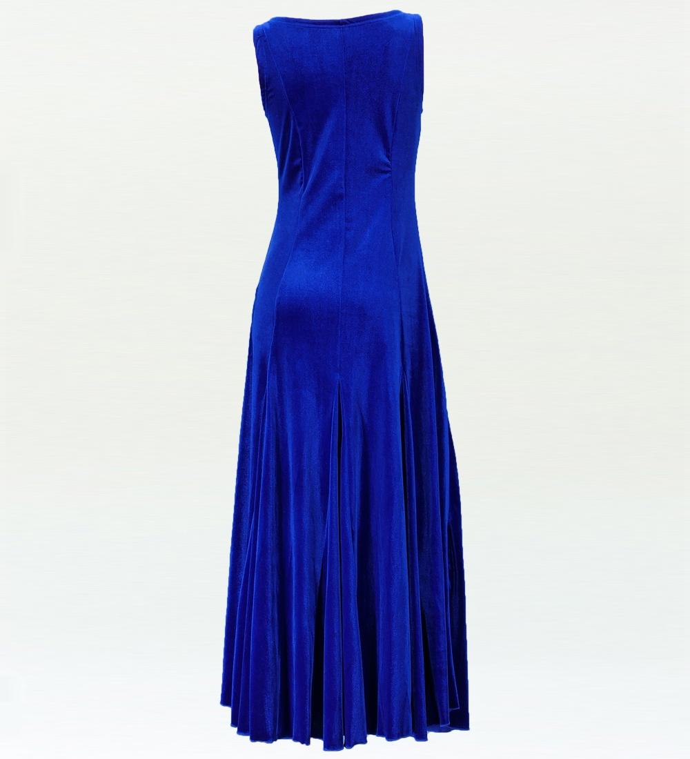 フラドレス ベルベット 無地 ワンピースドレス ロイヤルブルー 1908a