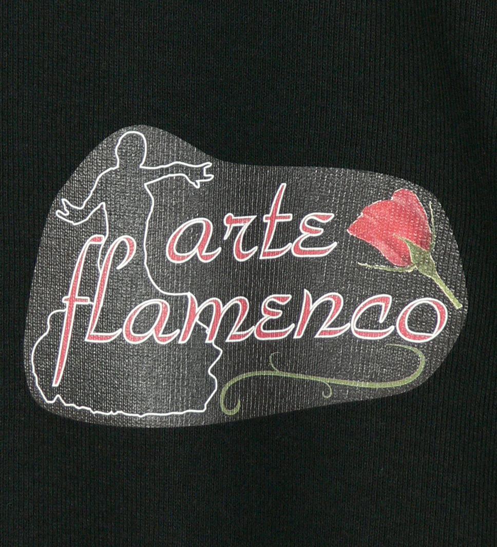 フラメンコ ローズバックプリント Tシャツ ブラック 486b