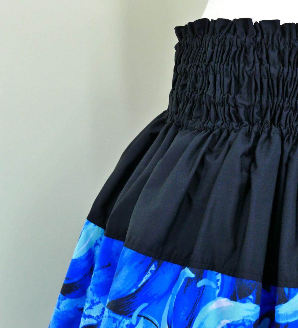 フラダンス パウスカート シングル73cm丈 バイカラー ブルー 2634