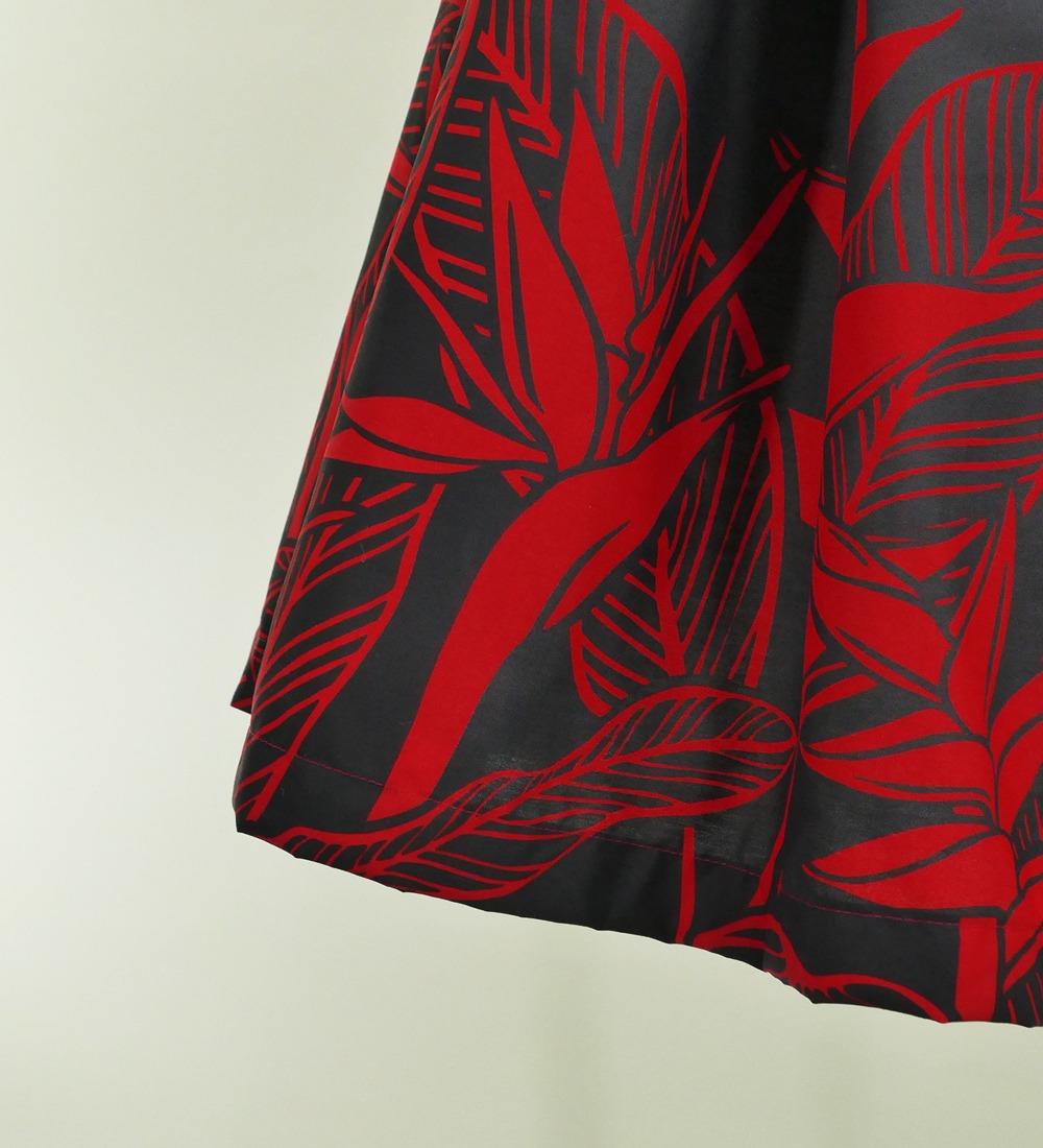 フラダンス パウスカート シングル73cm丈 レッド×ブラック 2647