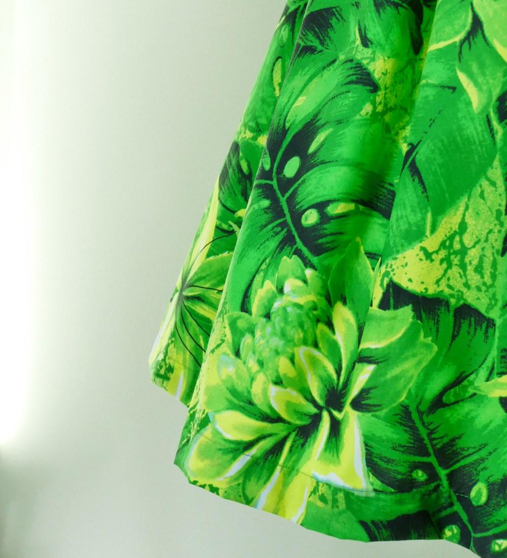フラダンス パウスカート シングル73cm丈 バイカラー グリーン 2636