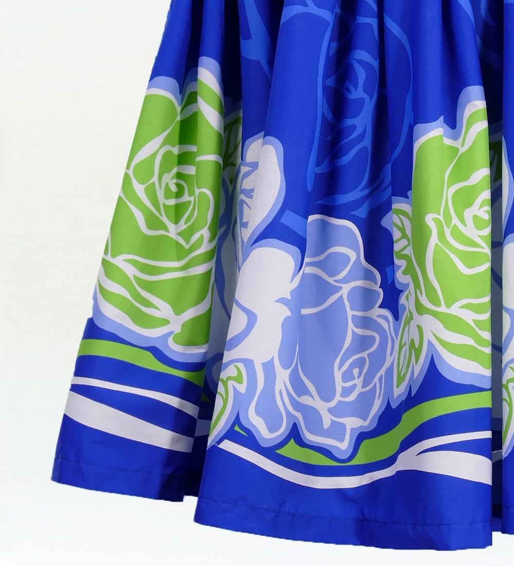 フラダンス パウスカート シングル73cm丈 ブルー 1890
