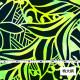 ハワイアン生地 ヘリコニア柄 ストレッチベロア生地 イエロー×グリーン KH-548-YE-V
