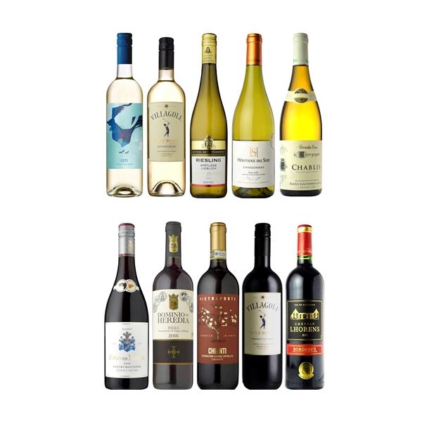 【送料無料】 <br>家飲みの決定版 信濃屋直輸入デイリーワイン 10本セット (赤+白 各5本)